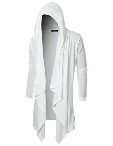 (GIVON Mens Long Sleeve Draped Lightweight Ruffle Shawl Collar Cardigan Hooded Cardigan with Pocket/DCC145-WHITE-2XL)