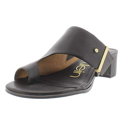 Calvin Klein Womens Daria Leather Block Heel Dress Sandals Black 5 Medium (B,M)