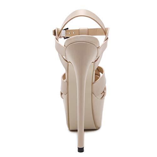 Sandales Epais Blanc Escarpin Mariage Femmes High Chaussures Sexy Cheville Talon Fête Heels De Aiguille Soirée Plateforme Haut Tqgold gdqzwTg