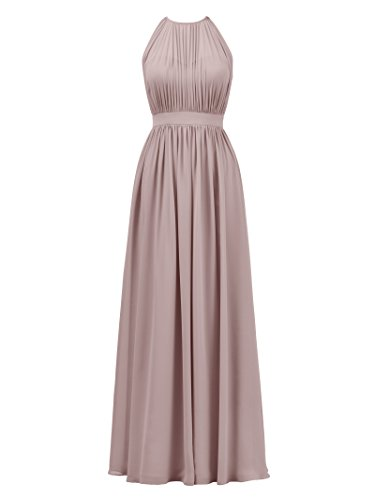 Alicepub Halter Illusion Bridesmaid Dress Chiffon Formal Evening Prom Gown Maxi, Silver Pink, US8 Chiffon Ruched Halter Dress