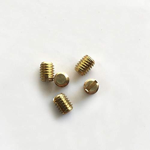 FidgetKute M5 M6 x 5mm-22mm Brass Slotted Flat end Head Tighten Screws Grub Set Bolts H59 M6 x 8mm 30Pcs