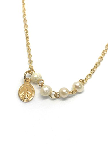LESLIE BOULES Miraculous Medal and Mother of Pearl Necklace 18K Gold Plated Chain 16.8