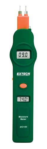 Extech MO100 Pocket Size Digital Pin Moisture Detector and Thermometer with Dual Display by Extech