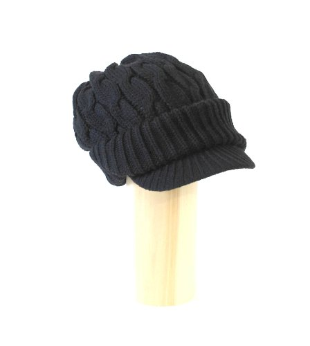 Newsboy Cable Knitted Hat for Women in Black, Charcoal, Light Grey, Off White