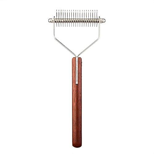 Lannmart Y Shape Stainless Steel Pet Hair Comb Anti-Slip Wooden Handle Pet Cat Dog Dematting Hair Comb Grooming Tool Fur Stripper