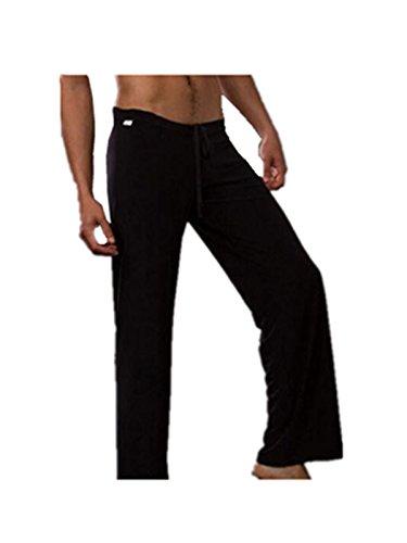 Sleep Pant Spandex (Leright Men's Yoga Long Pants Loose-Fitting Pajama Trousers Lounge Sleep Pants, Black, XL(US Size L))