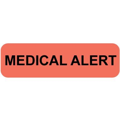 "Mini Medical Filing Label, MEDICAL ALERT, Red, Roll of 500, 5/16""H x 1-1/4""W, Roll of 500 -  Colortrieve, C80-50053"