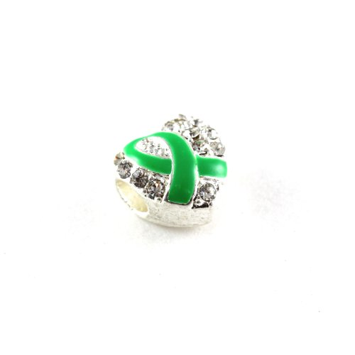 (Green Ribbon Heart Charms with Australian Crystals Buy 1 Give 1 -- 2 Charms for only $9.99)
