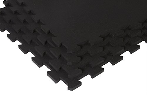 Supermats Superlock Interlock Heavy Duty Recycled Rubber Weightlifting Anti Fatigue General Purpose Flooring - Middle Tile Solid black by SuperMats