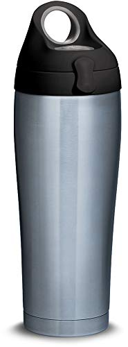 Tervis 1298573 Stainless Steel Insulated Tumbler with Black with Gray Lid 24 oz Water Bottle, Silver