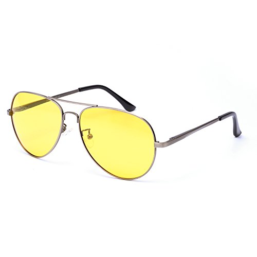 SIPHEW Aviator Day & Night Vision HD Polarized Glasses for Driving Metal Frame Yellow Lens - Aviator Advantage