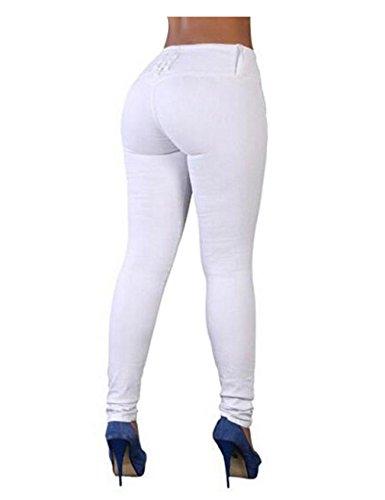 Bestgift Crayons Collant Legging Femme Bleu Stretch Basique r7Hrq