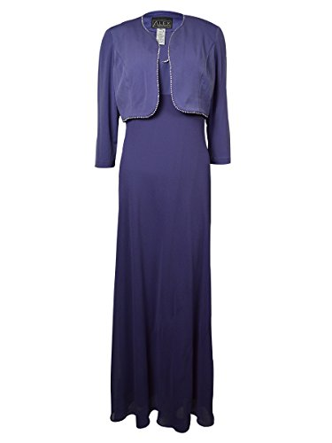 Alex Evenings Women's 2 Piece Sleeveless Dress with Bolero Jacket Iris 12 2 Piece Bolero Jacket