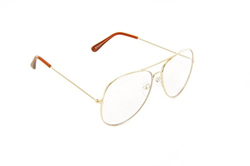 MJ Eyewear Classic Tear Drop Aviator Glasses Clear Lens Metal Frame (Gold, Clear) -