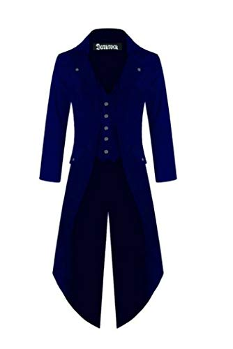 Blue Coat Trench - Darkrock Men's Cotton Twill Steampunk Tailcoat Jacket Goth Victorian Coat/Trench (X-Large, Blue)