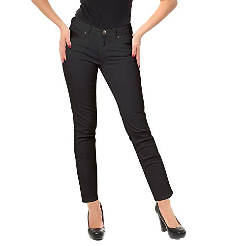Zac & Rachel Women's Low Rise Slim Stretch Comfy Jeans All Day Casual Dress Pants with Classic Zip Front, Five Pockets (Black, 16)