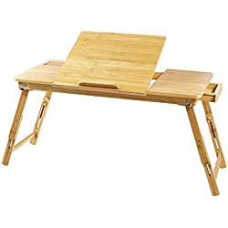 Lap Desk Ucharge Portable Adjustable Bamboo Laptop Desk Table Breakfast Serving Bed Tray with Tilting Lockable Legs Top Drawer