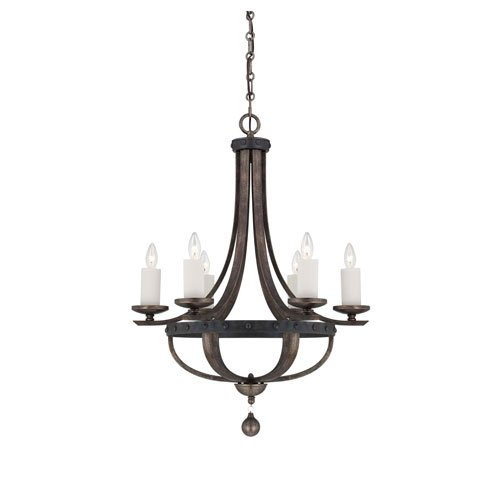251 First Afton Reclaimed Wood Six-Light Chandelier