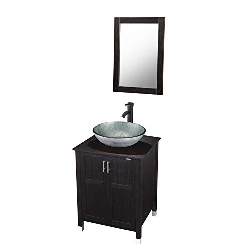 Modern Bathroom Vanity and Sink Combo Stand Cabinet with Vanity Mirror,Single MDF -