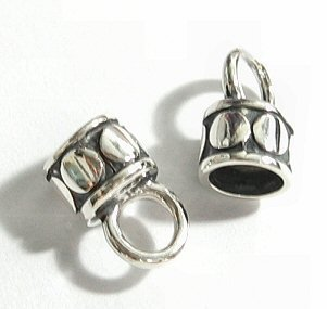 2 pcs Bali Sterling Silver End Cap for 4mm Leather Bead Cord