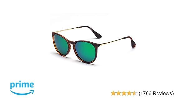 9befe72da83e Amazon.com  SUNGAIT Vintage Round Sunglasses for Women Classic Retro  Designer Style (Amber Frame Green Lens)  Clothing
