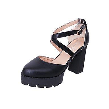 RTRY Zapatillas De Mujer &Amp; Flip-Flops Verano Chunky Heelblack Pu Confort Casual Blanco Negro Caminando Nosotros6.5-7 / Ue37 / Uk4 5-5 / Cn37 US7.5 / EU38 / UK5.5 / CN38