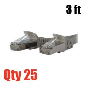 Cat5e Molded Network Patch Cable Gray 3 Feet - 25 PACK