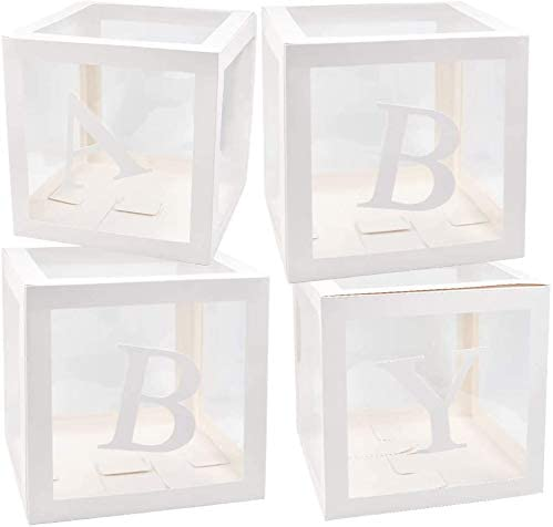 BabyShower Box Set of 4 Clear Baby Block Boxes with Baby Letters Party Decoration Transparent Ballon Boxes Backdrop Baby Shower /& Birthday Party