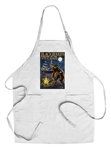 Outer Banks, North Carolina - Blackbeard Pirate and Queen Anne's Revenge (Cotton/Polyester Chef's Apron)