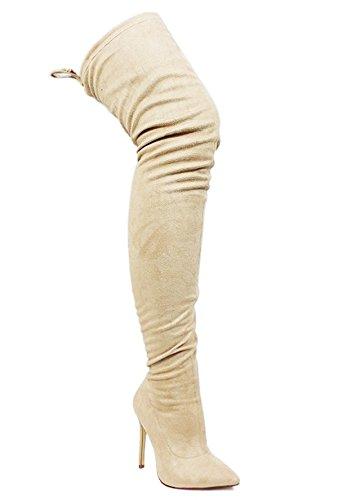Liliana Punta A Punta Con Coulisse Stiletto Lucido Elastane Sopra Lo Stivale Al Ginocchio Giselle50 Nude