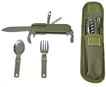 Campers Utility Knife with Pouch, Spoon, Fork, Can/Bottle Opener, Corkscrew (Campers Tool)