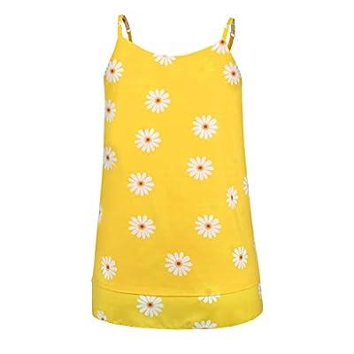 Women's Boho Floral V Neck Daisy Straps Tank Top Summer Sleeveless Shirts Blouse: Clothing