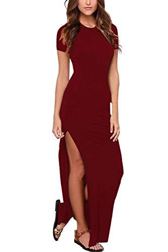 Womens Short Sleeve Summer Beach Vacation Bodycon High Split Maxi Dress Ruby M (High Split Maxi Dresses For Women)