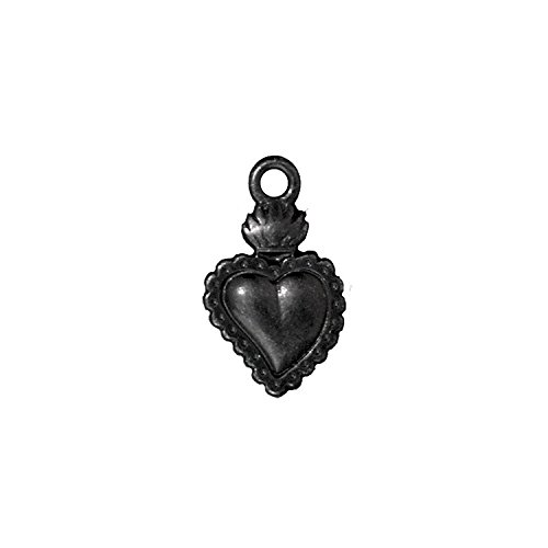 (TierraCast Heart Milagro, 21.5mm, Black/Gunmetal Finish Pewter, 4-Pack)