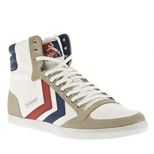 be29a880e76 Hummel Slimmer Stadil High Canvas White Blue Red Mens Trainers Boots 85%OFF