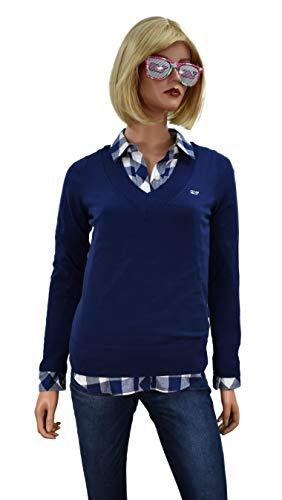 Vineyard Vines Women's Quarter Zip Sweater Nautical Navy (X-Large, V-Neck/Deep Bay)