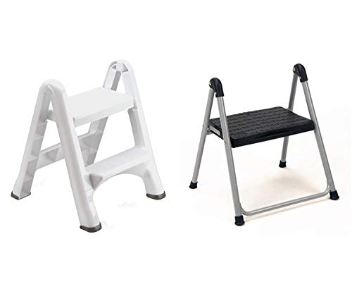 Rubbermaid Folding 2-Tier Step Stool, White Bundle with Cosco 1-Step Folding Step Stool Without Handle