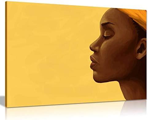 African Art Modern Beautiful Woman Calm Canvas Wall Art Picture Print Home Decor 36×24
