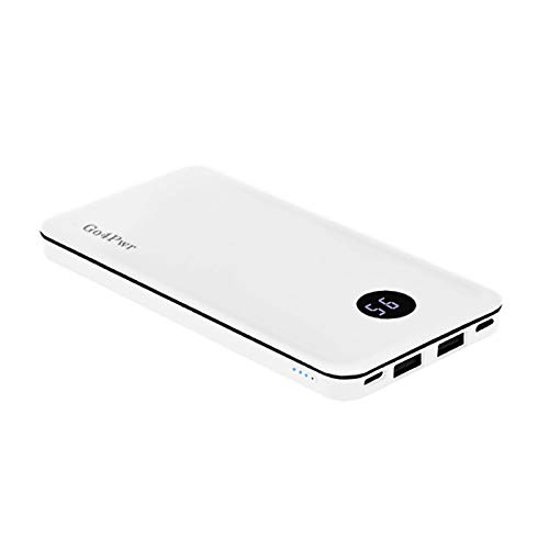 (Go4Pwr Portable Charger 13000mAh Mobile Phone Battery Backup Light Weight Power Bank Safe Li_Polymer LCD Cell Phone External Battery Pack 2 Outputs for iPhone iPad (White))