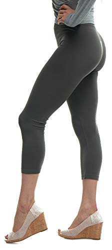 Lush Moda Seamless Capri Length Basic Cropped Leggings - Variety of Colors - Charcoal - Cotton Tights Cropped