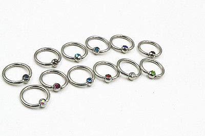 FidgetFidget 100PCS 16G~1.2mm Gems Lip/Eyebrow/Nose Captive Bead Rings CBR CR Ear Piercing Ear Captive Bead Eyebrow Rings