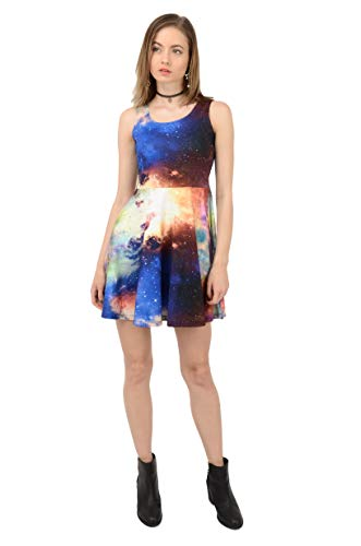 CowCow Womens One Light Moon and Stars Skater Dress, Black - M]()