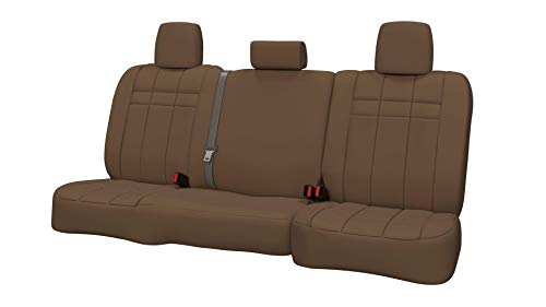 Rear SEAT: ShearComfort Custom Neoprene-Style Seat Covers for Dodge Ram Pickup 1500 (2019-2019) in Solid Tan for 40/60 Split Back and Bottom w/ 3 Adjustable Headrests (1500 Classic Old Body)
