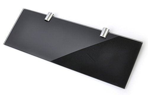 BSM Marketing, mensola in vetro temprato di sicurezza con 2 staffe cromate, 100 x 300 mm, colore nero lucido