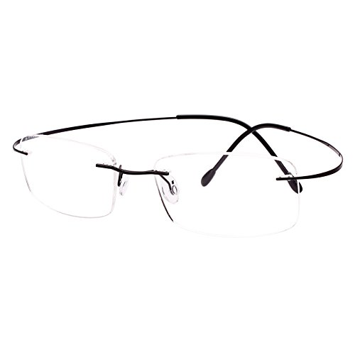 Rx Prescription Eyeglass Frame - Agstum Pure Titanium Rimless Frame Prescription Hingeless Eyeglasses Rx (Black, 52)