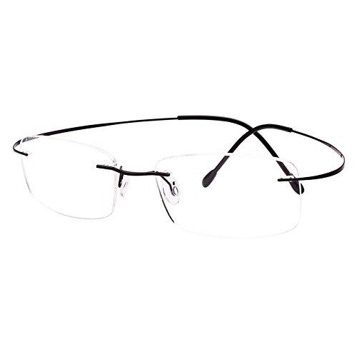 Agstum Pure Titanium Rimless Frame Prescription Hingeless Eyeglasses Rx (Black, 52)