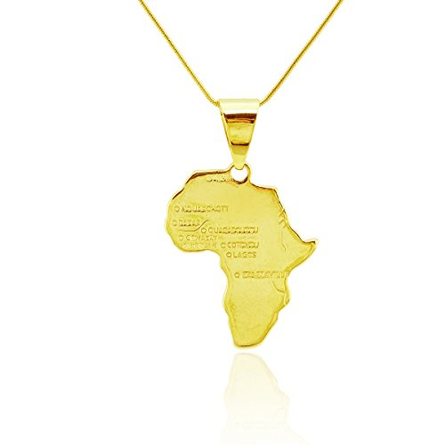 Passage 7 18K Real Gold Plated Map Of African Pendant Necklace USA Made Chain Length - Items Toys By Shipped Amazon