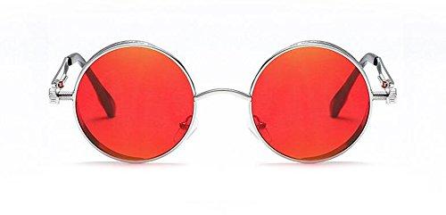 de Film du Cercle Femmes Rond Hommes Rouge Steampunk Inspirées Lunettes Soleil Métallique Retro et Style C en Pour Polarisées Rq1axgdw