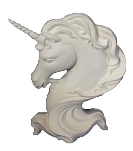 """Unicorn Bust 12"""" Ceramic Bisque, Ready to Paint"""