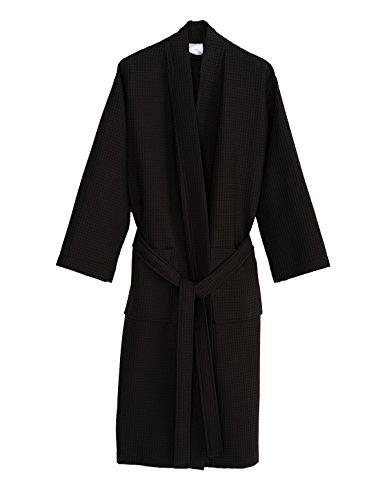 TowelSelections Turkish Bathrobe Waffle Kimono Robe for Women and Men X-Small/Small Jet (Long Waffle)